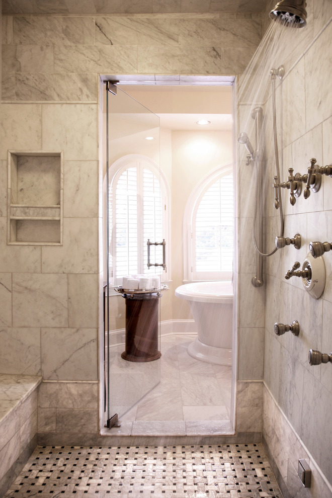 Example of a classic mosaic tile bathroom design in Atlanta