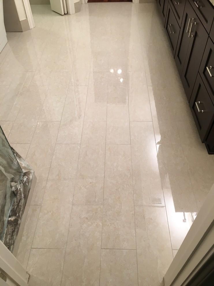 MASTER BATHROOM - Free Standing Tub / Crema Marfil Tile ...