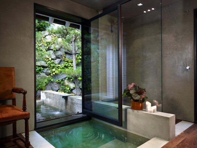 Inspiration for a large contemporary master bathroom remodel in Seattle with gray walls