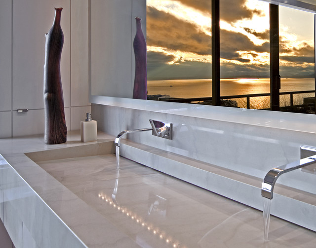 Photo of a contemporary bathroom in Seattle with a trough sink.