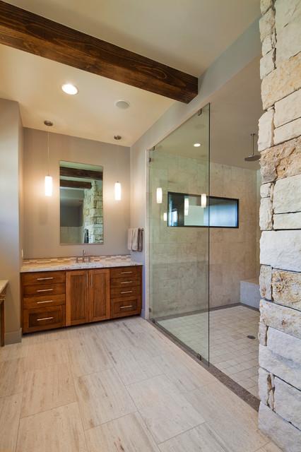 Master bathroom glass shower exposed beams mediterranean-bathroom