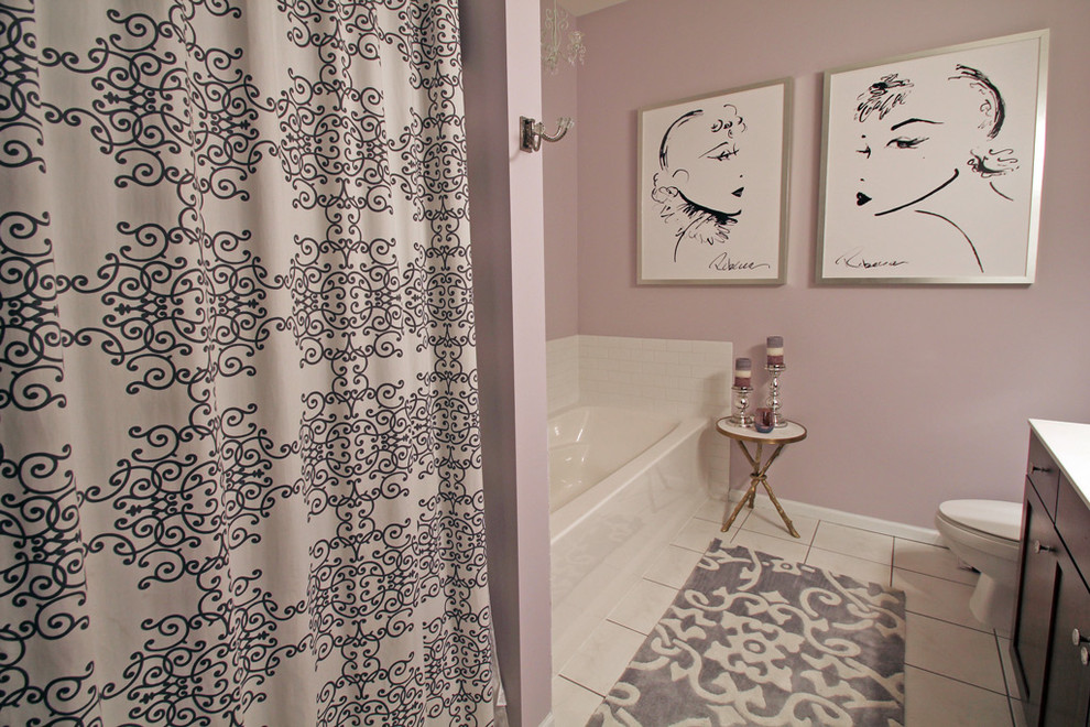 Bathroom - small transitional master white tile and ceramic tile ceramic tile bathroom idea in Minneapolis with shaker cabinets, dark wood cabinets, a one-piece toilet and purple walls