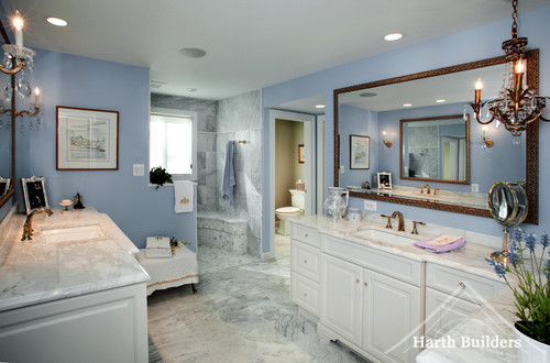 Nothing But Blue Skies Master Bath Before And After: Love The Blue Paint