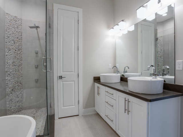 master bathroom in a memphis townhome transitional