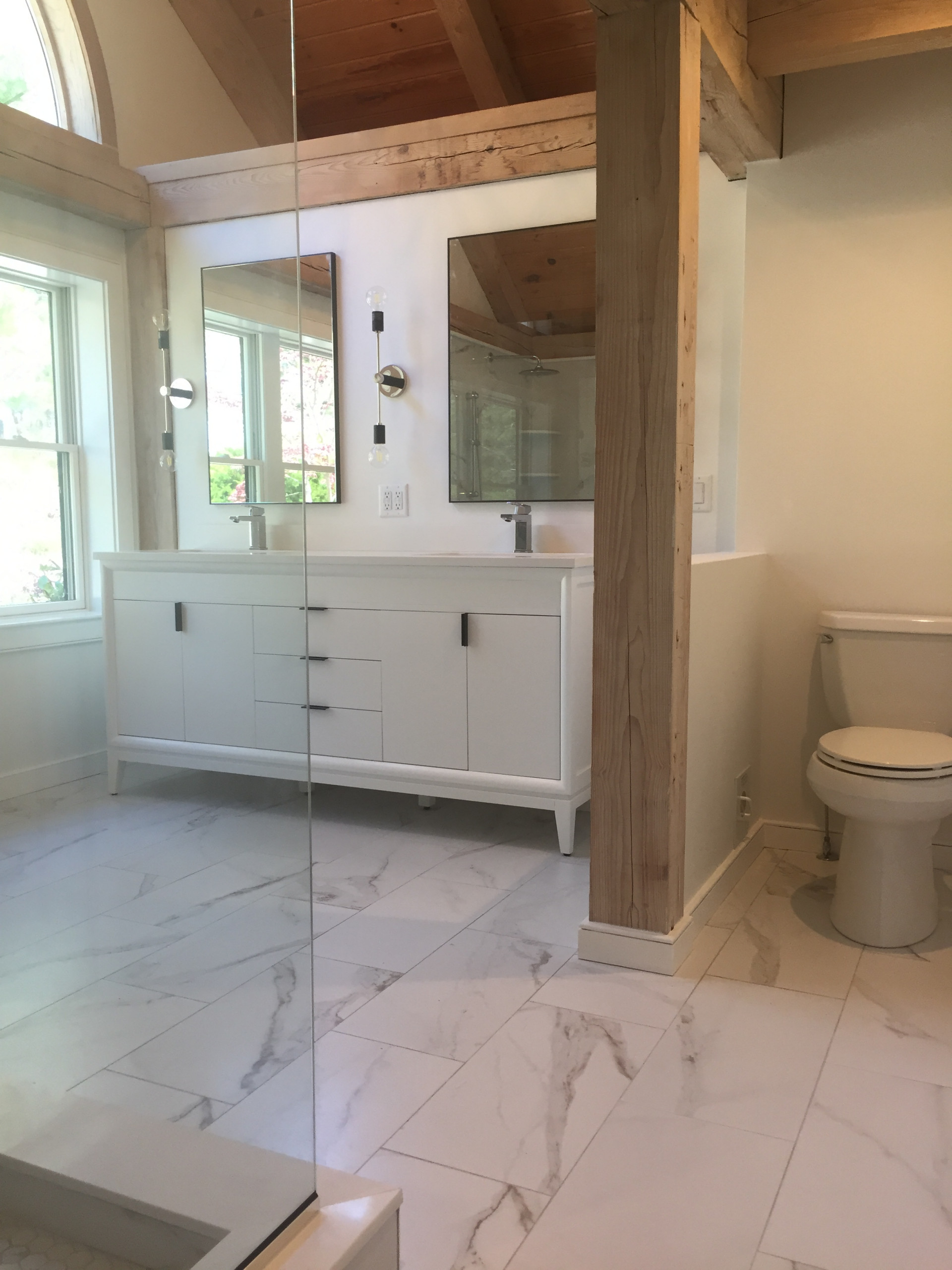 Master bathroom in a post and beam home