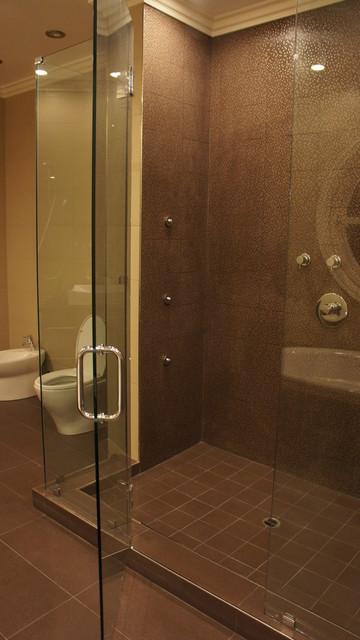 Master Bathroom In Brown And Beige Tones
