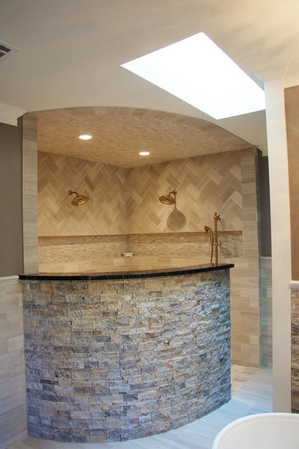 Bathroom - large contemporary master beige tile ceramic floor bathroom idea in Austin with beaded inset cabinets, dark wood cabinets, a bidet, beige walls, a drop-in sink and granite countertops