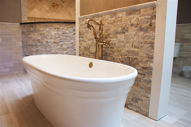Bathroom - large contemporary master beige tile porcelain floor and beige floor bathroom idea in Austin with beaded inset cabinets, dark wood cabinets, a bidet, beige walls, a drop-in sink and granite countertops