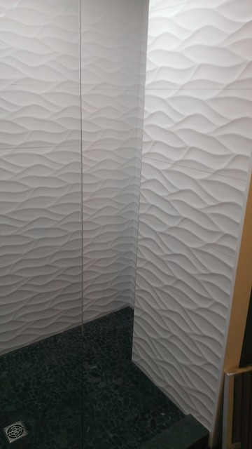 Master bathroom large wave tile shower penny tile wainscot ikea cabinets modern - Ikea bathroom tiles ...