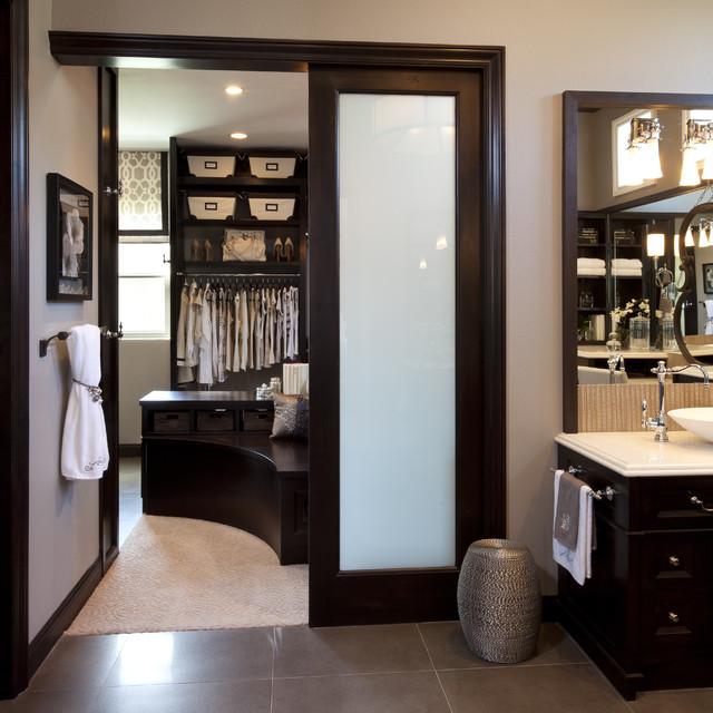 Master bathroom master closet traditional bathroom for Closet bathroom suites
