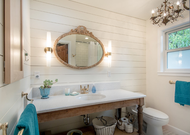 Master Bathroom Of Santa Cruz Beach Cottage Beach Style