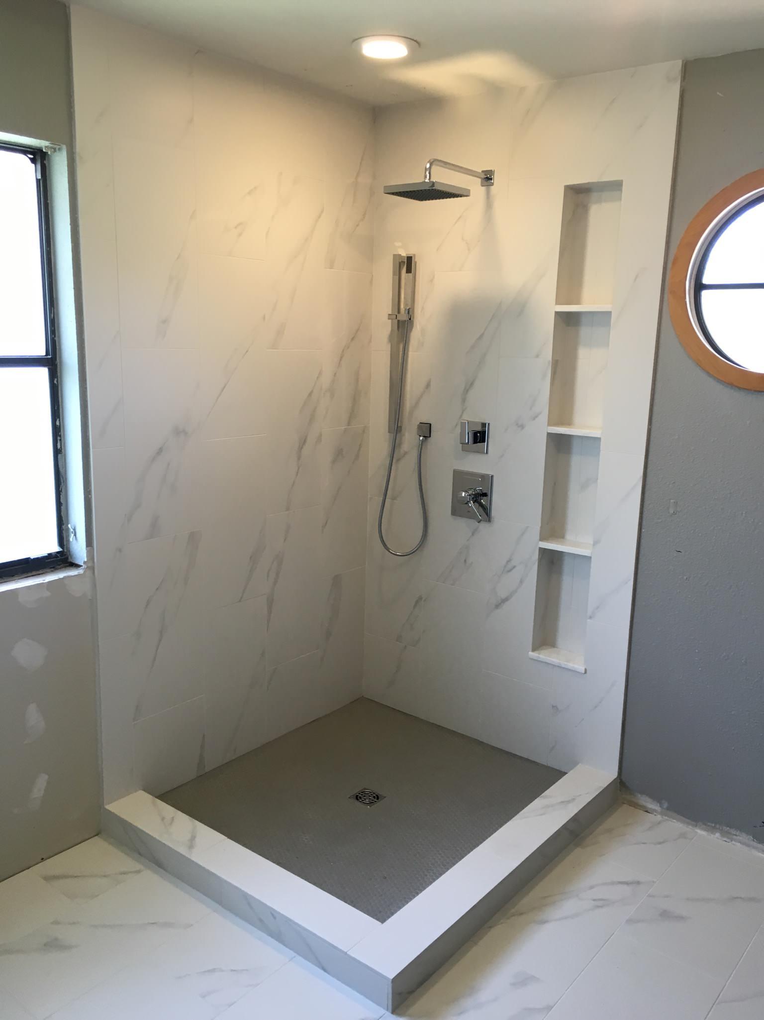 White Marble Tile With Grey Veins Bathroom Ideas Photos Houzz