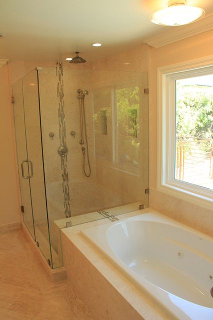 Master bathroom remodel complete with jacuzzi tub large walk in stone shower bathroom Bathroom ideas with jetted tubs
