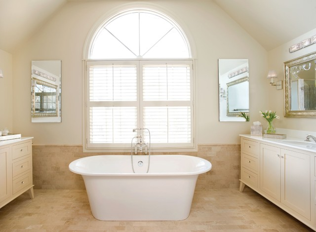 Large minimalist master beige tile and ceramic tile ceramic floor bathroom photo in Boston with an integrated sink, recessed-panel cabinets, beige cabinets, beige walls and granite countertops