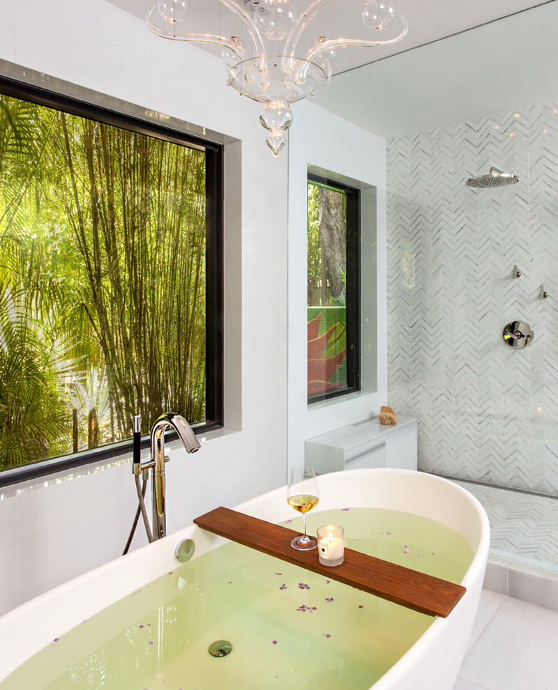 Example of a trendy white tile bathroom design in Miami with white walls