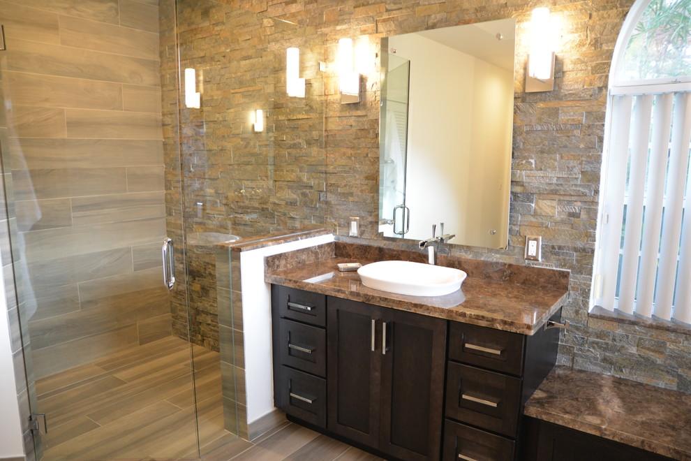 master bathroom remodel with black cabinets granite