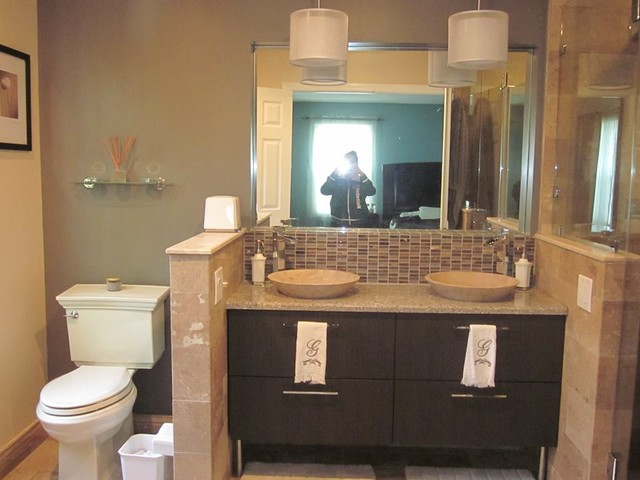 Master bathroom remodel with double sink mahwah nj for Two sink bathroom ideas