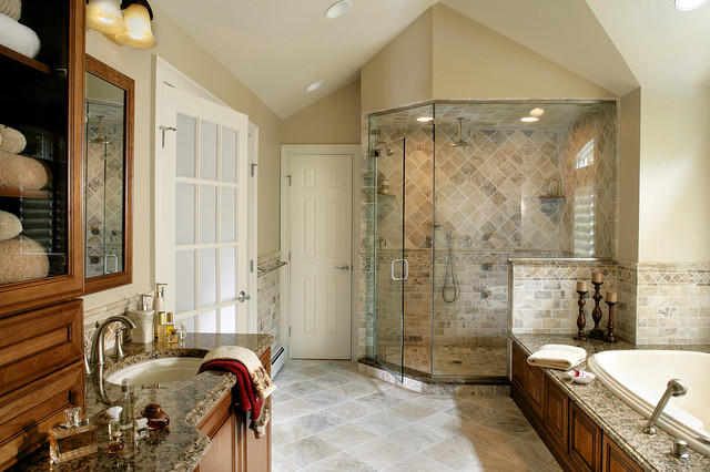 Master Bathroom Remodel With Natural Stone And Oversized Shower Traditional  Bathroom