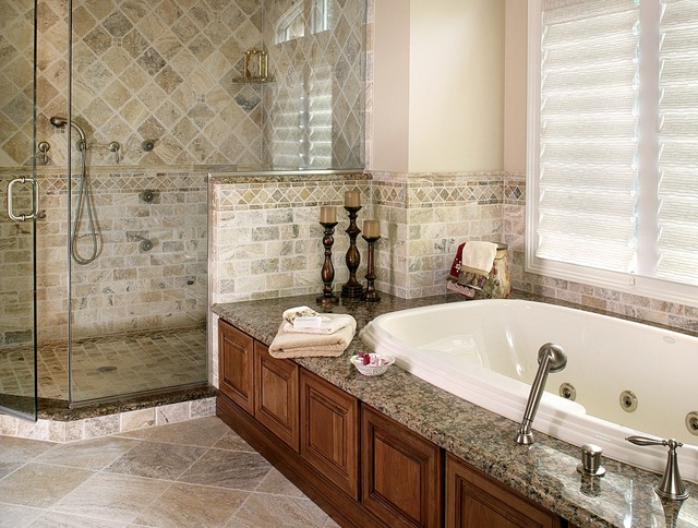 Master bathroom remodel with natural stone and oversized for Marble master bathroom designs