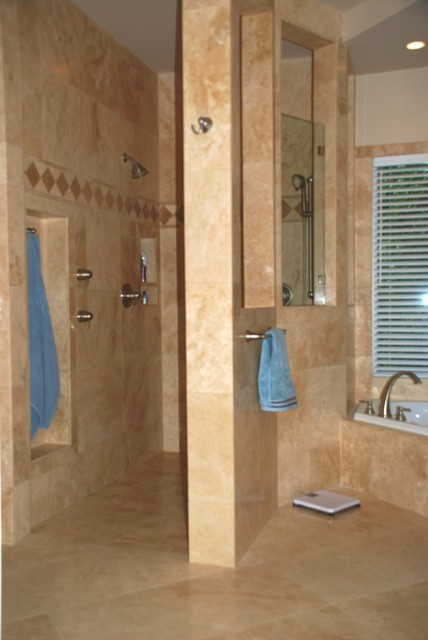 Master Bathroom Remodel With Walk In Shower Transitional