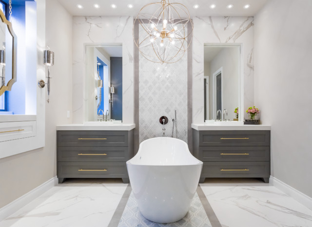 Master Bathroom Renovation Gold Gray Cobalt Spring Valley - Bathroom renovation houston