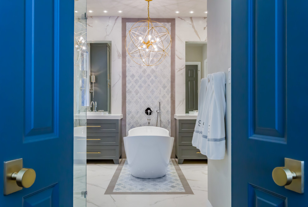 Example of a mid-sized transitional master white tile and porcelain tile marble floor bathroom design in Houston with furniture-like cabinets, gray cabinets, a wall-mount toilet, gray walls, a vessel sink and quartzite countertops