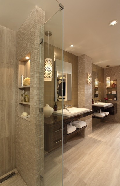 Beau Inspiration For A Contemporary Bathroom Remodel In Atlanta With Open  Cabinets, Dark Wood Cabinets And