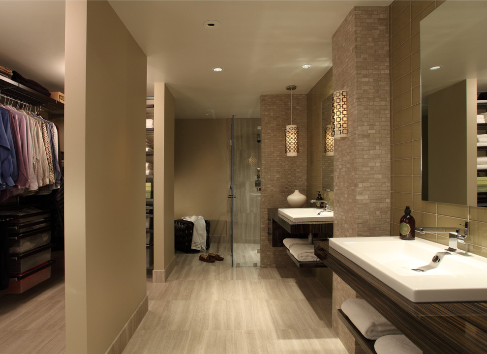 Example of a trendy beige tile and glass tile travertine floor walk-in shower design in Atlanta with a drop-in sink, open cabinets, dark wood cabinets, wood countertops and beige walls