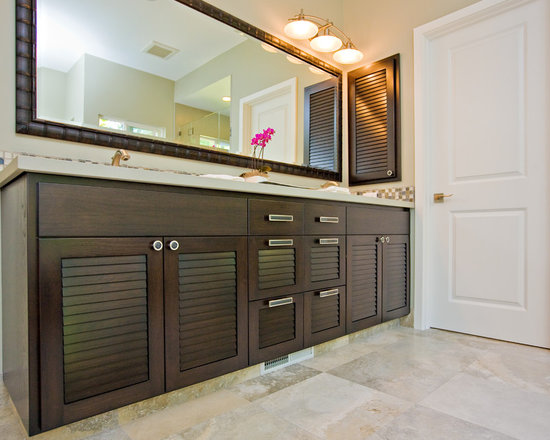 Louvered Doors Bath Design Ideas, Pictures, Remodel & Decor with Solid Surface Countertops and ...