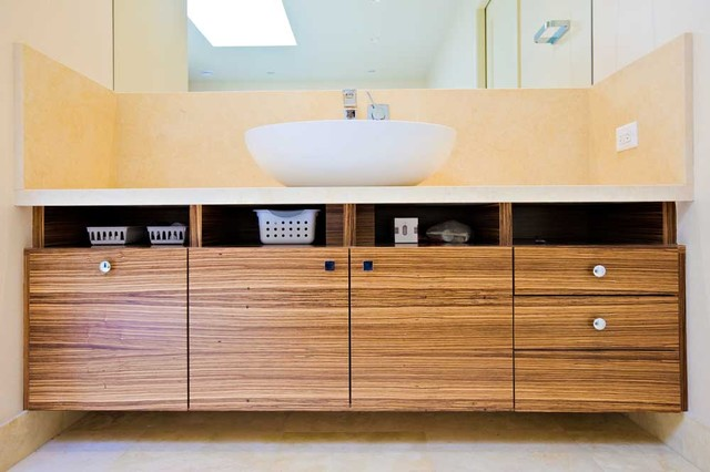 Master Bathroom Retreat Zebra Wood Custom Cabinets Soaking Tub Modern