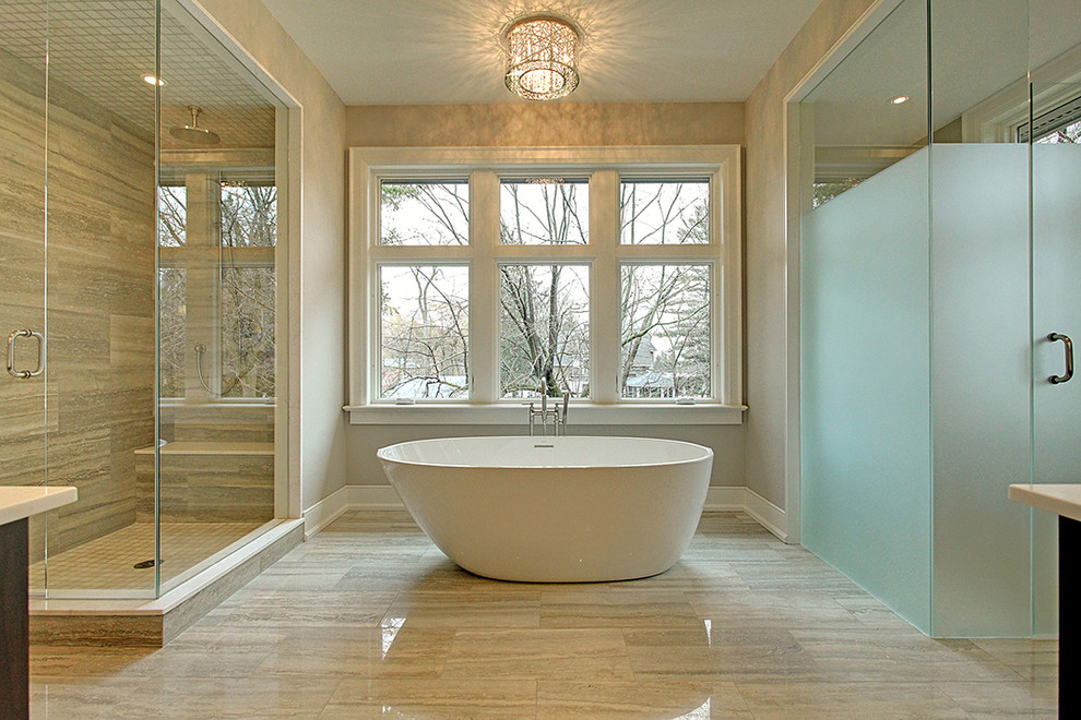 Mid-sized transitional master porcelain tile bathroom photo in Toronto with gray walls, flat-panel cabinets, dark wood cabinets and an undermount sink