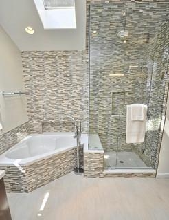 Master Bathroom Shower And Corner Tub Contemporary