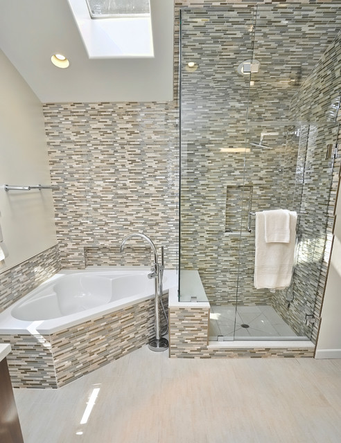 Master Bathroom Shower And Corner Tub Contemporary