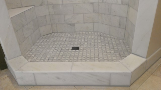 Master bathroom shower carrara marble 6 x 12 for Bathroom designs 3m x 2m