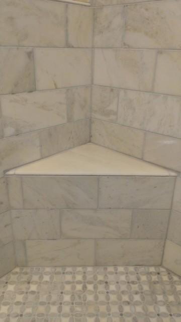 Master Bathroom Shower Carrara Marble 6 X 12 Contemporary