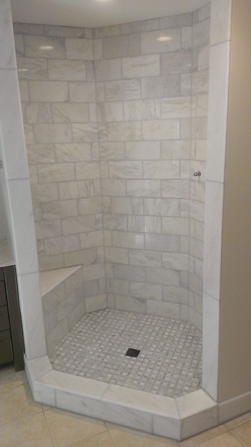 MASTER BATHROOM Shower Carrara Marble 6 X 12