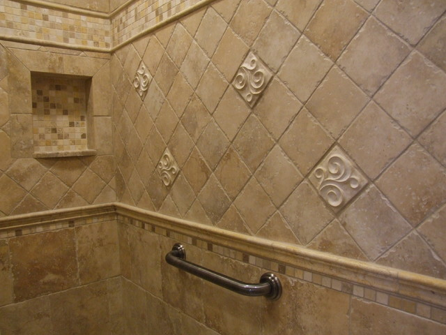 Master bathroom shower with niche and grab bar for Grab bars in bathroom