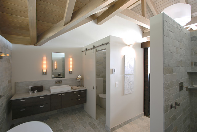 Master bathroom toilet closet with contemporary sliding for Closet bathroom suites