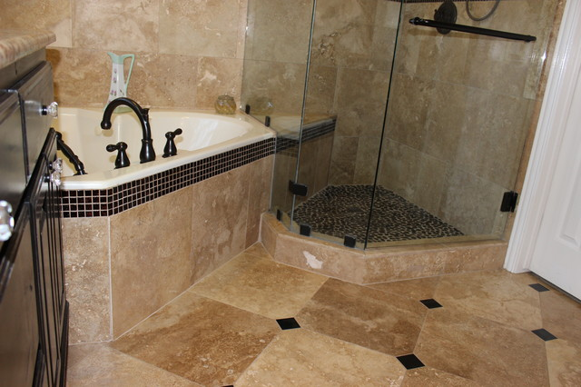 Master Bathroom Travertine, Pebble and Glass - Traditional - Bathroom - dallas - by Floors To Go