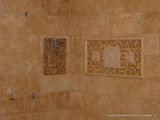 Master Bathroom Travertine Tile Shower Tub Floor