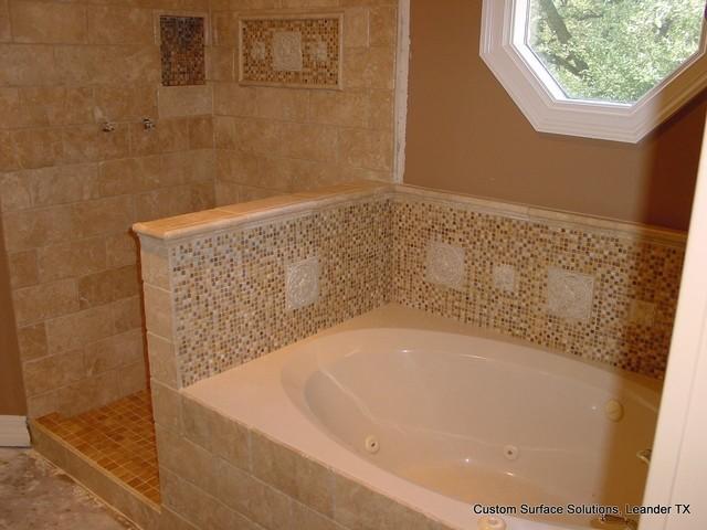 bathroom travertine tile shower tub floor traditional bathroom