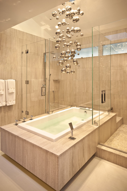Houzz addict reality check lighting over tub for Master bathroom fixtures
