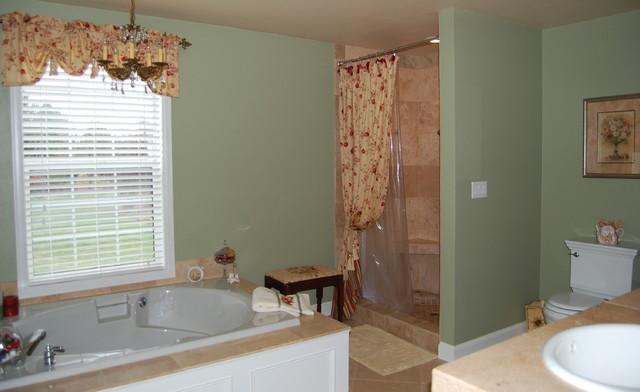 Bathroom Paint Colors Travertine Tile master bathroom w/travertine tile & antique sink vanity