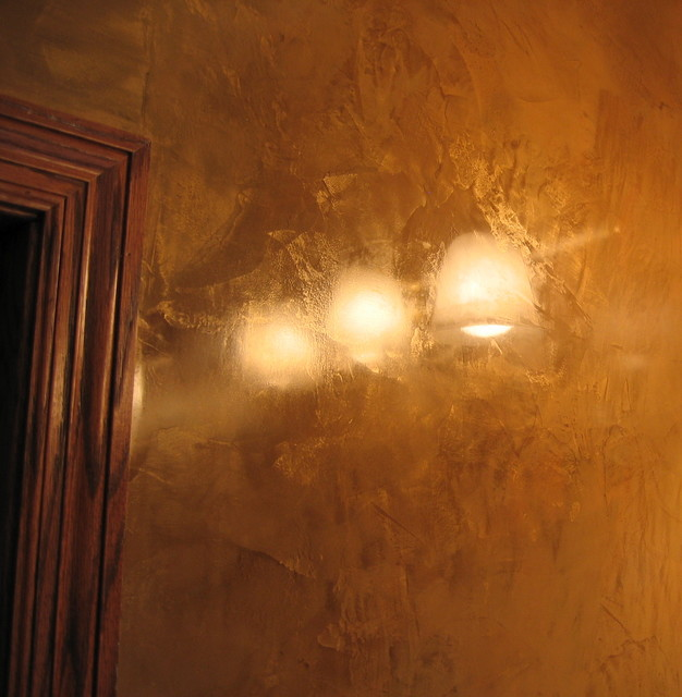 Faux Plaster Finish master bathroom wall - italian venetian plaster - bella faux