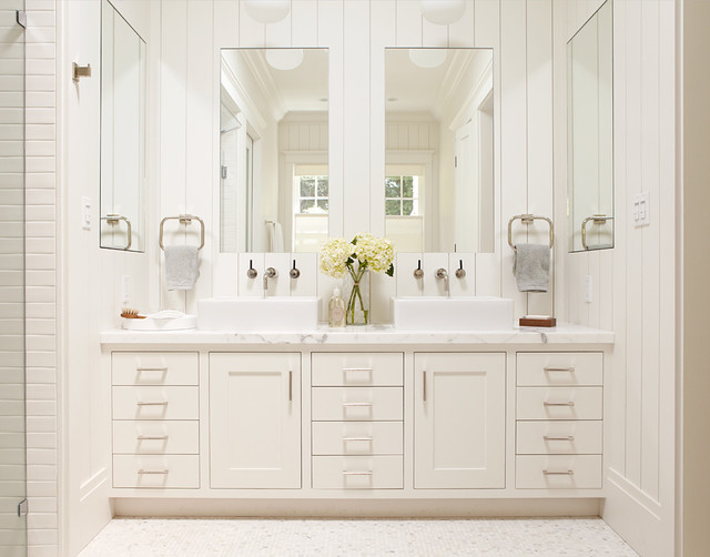 Master Bathroom White Vanity With Two Sinks And Large Mirrors Traditional