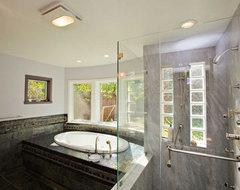 Master Bathroom with Black Tile and Granite modern bathroom