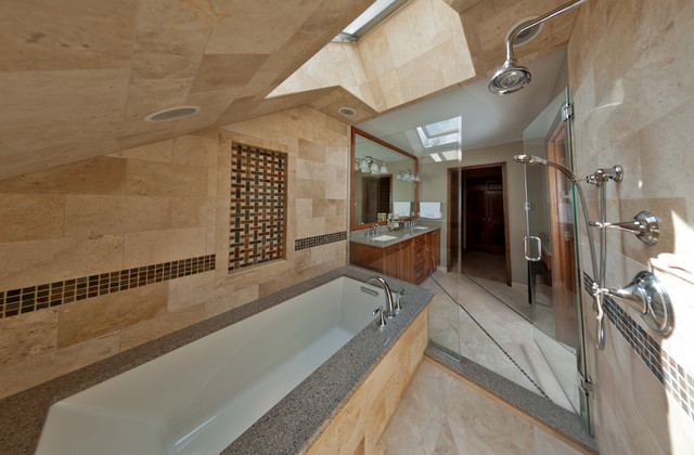Master bathroom with floor to ceiling marble for Master bathroom vaulted ceiling