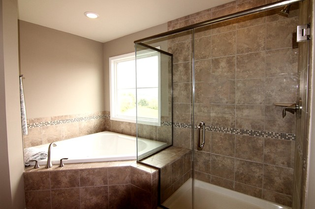 Master Bathroom With Frameless Shower And Garden Tub Traditional Bathroom