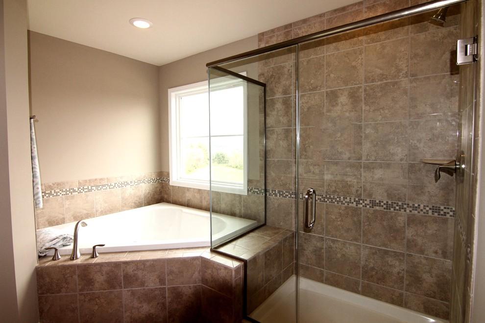 Master Bathroom With Frameless Shower, Garden Tub Shower