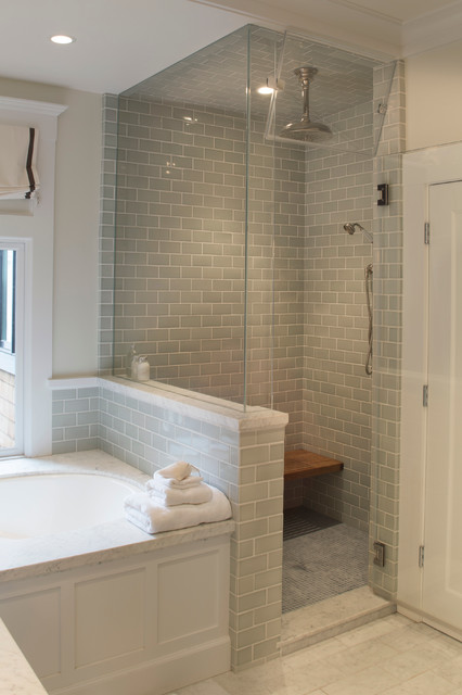 bathroom with glass enclosed steam shower transitional bathroom